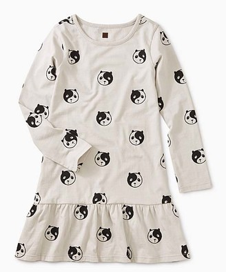 Tea Collection Girls' Casual Dresses Ying - White & Black Yin Yang Panda Ruffle-Hem Drop-Waist Dress - Toddler & Girls