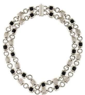 David Yurman Diamond & Onyx Double Strand Necklace