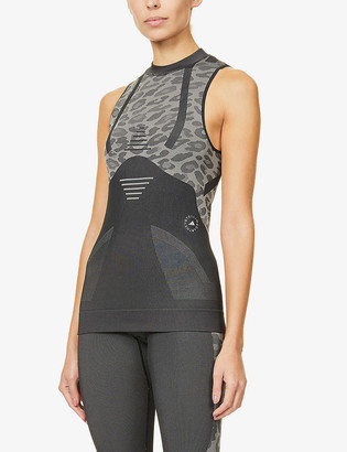 adidas by Stella McCartney Leopard-print recycled polyester-blend tank top