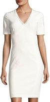 T Tahari Kimmy Ladder-Stitch Dress, White