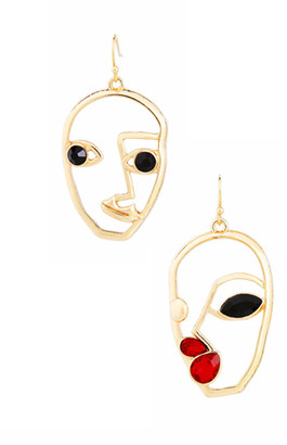 Don't Ask Don't AsK Women's Earrings Gold/Jet/Red - Gold-Plated Abstract Faces Drop Earrings