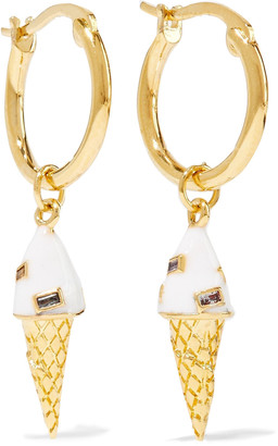 Noir 14-karat Gold-plated, Crystal And Enamel Hoop Earrings