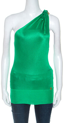 Roberto Cavalli Green Knit Brooch Detail One Shoulder Top S