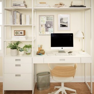 Martha Stewart California Closets The Everyday System Reversible Executive Desk with Hutch and Built in Outlets Color: Perry Street White Woodgrain