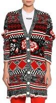 MSGM Floral Intarsia Cardigan Sweater, Multi Pattern