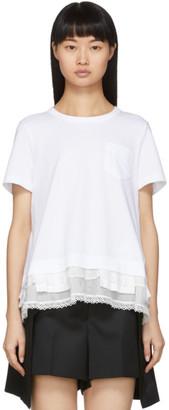 Sacai White Lace Ruffle T-Shirt