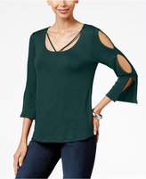 KUT from the Kloth Cold-Shoulder Bell-Sleeve Top