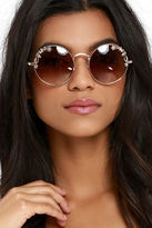 LuLu*s Over in a Lily Bit Gold Sunglasses