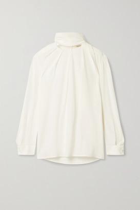 Alexander McQueen Tie-detailed Silk Crepe De Chine Blouse - White