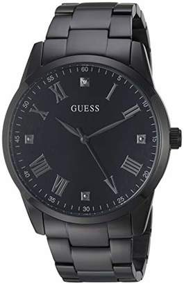 GUESS Stainless Steel Ionic Plated Bracelet Watch with Genuine Diamond Dial + Silver-Tone Roman Numerals. Color: (Model U1194G4)