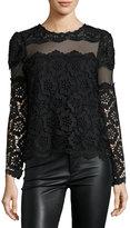 Romeo & Juliet Couture Long-Sleeve Mesh-Inset Lace Blouse, Black