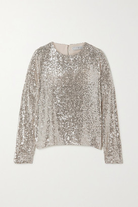 In The Mood For Love Alexandra Sequined Stretch-tulle Top - Silver