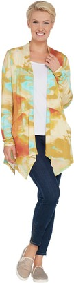 Logo By Lori Goldstein LOGO by Lori Goldstein Knit Open Front Printed Cardigan