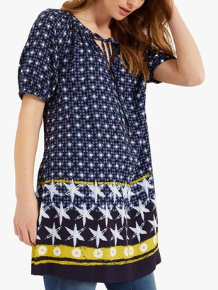 White Stuff Bayleaf Print Tunic Top, Navy