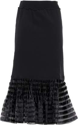 J.W.Anderson Fluted Organza-trimmed French Cotton-terry Midi Skirt