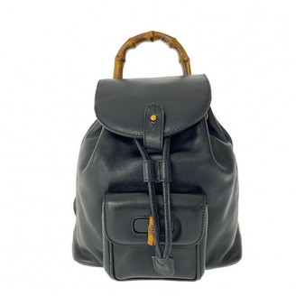 Gucci Black Leather Backpacks