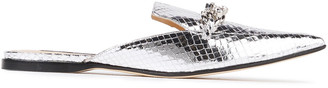 Sergio Rossi Embellished Metallic Snake-effect Leather Slippers