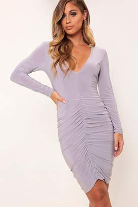I SAW IT FIRST Grey V-Neck Plunge Ruched Mini Dress