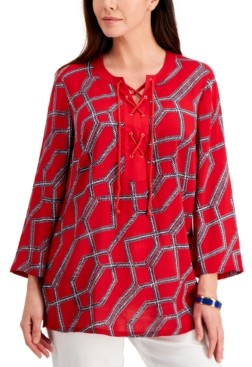 Charter Club Petite Cotton Printed Tasseled Tunic, Created for Macy's