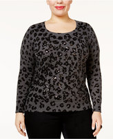 INC International Concepts Plus Size Animal-Print Sweater, Only at Macy's