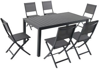 """Hanover Naples 7-Piece Outdoor Dining Set with 6 Sling Folding Chairs in Gray and a 63"""" x 35"""" Dining Table"""