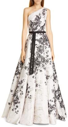 Marchesa One-Shoulder Metallic Floral Ballgown