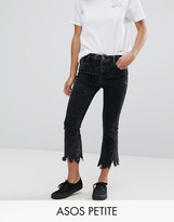 Asos Cropped Flare Jeans with Arched Raw Hem in Extreme Acid Wash Black