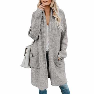 Loozykit Womens Boho Loose Open Front Cardigans Loose Knit Drape Long Sleeve Sweater Cloak Duster Outwear with Pockets Grey