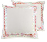 Jessica Simpson Provincial Border-Embroidered Linen-Blend Euro Sham