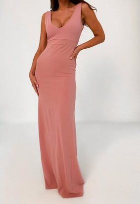 Missguided Crepe Plunge Neck Maxi Dress