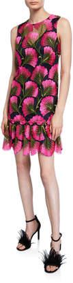 Trina Turk Barbra Fan Foliage Sleeveless Drop-Waist Flounce Dress