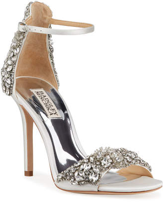 Badgley Mischka Fabiana Embellished Satin Sandals