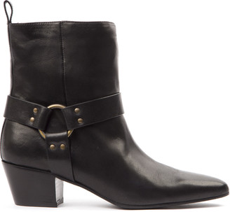 Marc Ellis Black Leather Buckled Ankle Boots