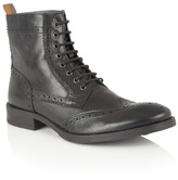Frank Wright Black Leather 'cypress' Lace Up Boots
