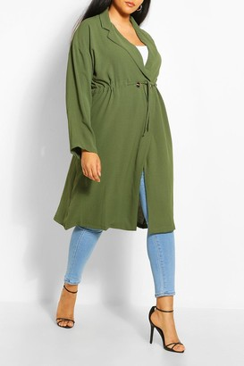 boohoo Plus Double Breasted Drawstring Waist Duster Coat