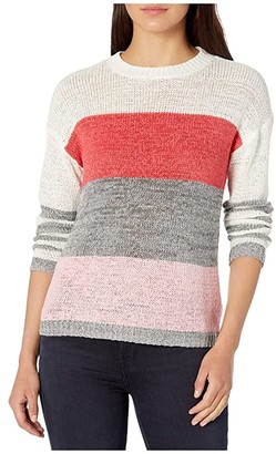 BB Dakota Tickled Pink Tape Yarn Color-Blocked Sweater (Cashmere Rose) Women's Clothing