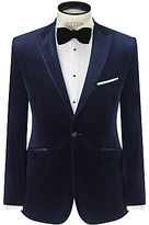John Lewis Velvet Peak Lapel Tailored Blazer, Midnight Blue