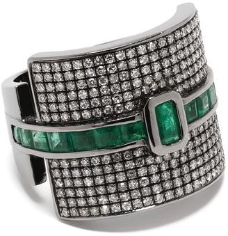 Shay 18kt black gold diamond emerald Buckle ring