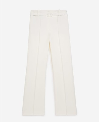 The Kooples Straight-cut ecru suit trousers with belt