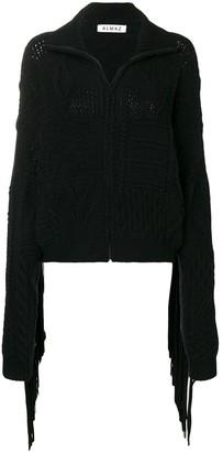 Almaz Fringed Sleeve Zipped Cardigan