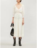 Free People Puffed-sleeve corset cotton midi dress