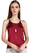 Colyanda Women's Sexy Round Neck Silk Camisole Tank Top (,XL)