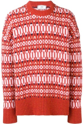 AMI Paris crew neck Sweater Nordic Jacquard Pattern