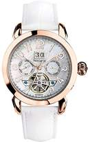 Pierre Lannier 315B990 - ladies watch - automatic analogue - mother of pearl dial - white leather strap