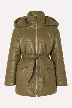 Nanushka Lenox Belted Quilted Vegan Leather Jacket - Army green