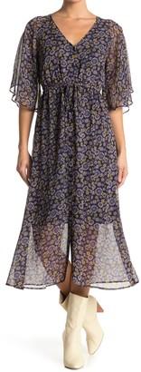 Lost + Wander Hibiscus Floral Chiffon Midi Dress