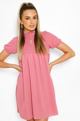 boohoo Shirred Puff Sleeve Smock Dress