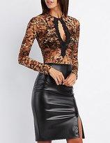 Charlotte Russe Leopard Print Lace Bodysuit