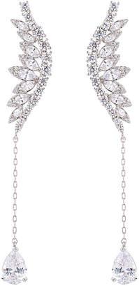 clear Eye Candy Los Angeles Eye Candy La Mystical Cz Crystal Feather Drop Earrings