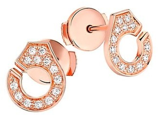 Dinh Van Menottes Diamond 18K Rose Gold Stud Earrings